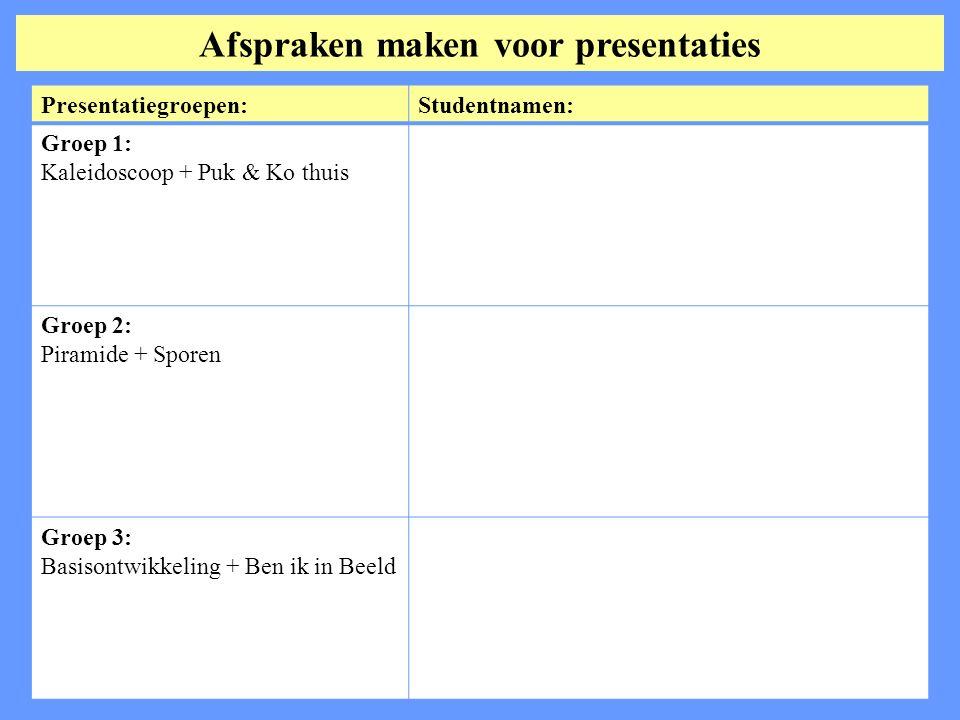 Afspraken maken voor presentaties Presentatiegroepen:Studentnamen: Groep 1: Kaleidoscoop + Puk & Ko thuis Groep 2: Piramide + Sporen Groep 3: Basisontwikkeling + Ben ik in Beeld