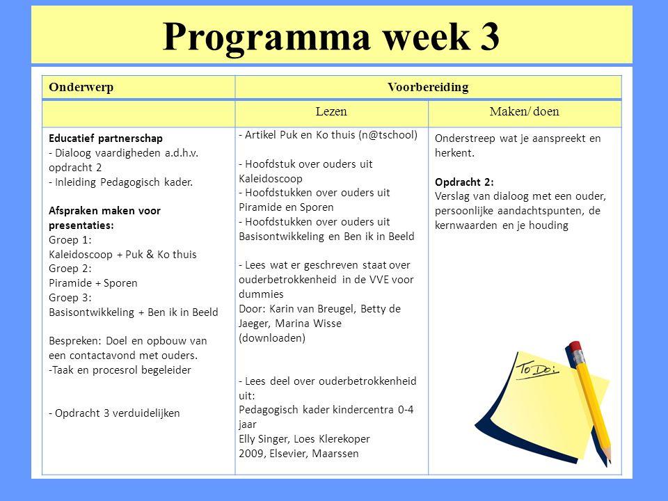 Programma week 3 OnderwerpVoorbereiding LezenMaken/ doen Educatief partnerschap - Dialoog vaardigheden a.d.h.v.