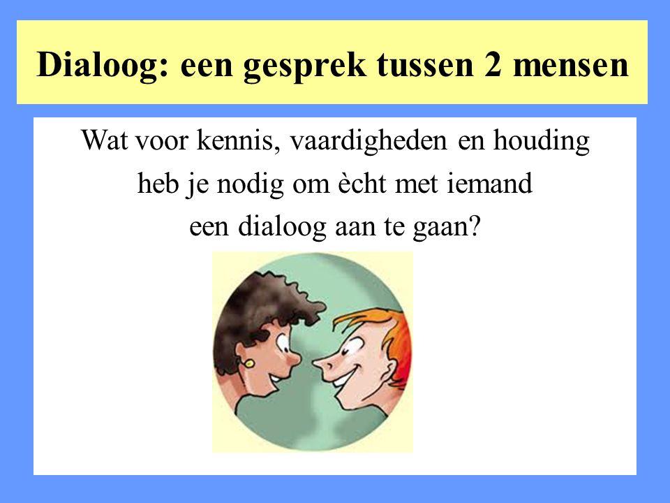 Dialoog: een gesprek tussen 2 mensen Wat voor kennis, vaardigheden en houding heb je nodig om ècht met iemand een dialoog aan te gaan?