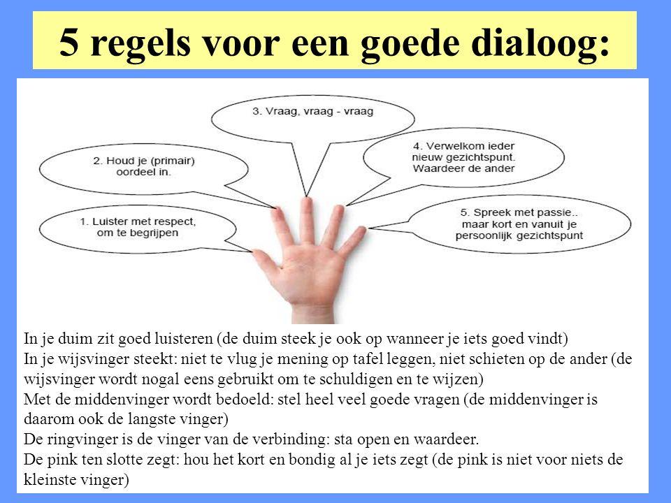 5 regels voor een goede dialoog: In je duim zit goed luisteren (de duim steek je ook op wanneer je iets goed vindt) In je wijsvinger steekt: niet te vlug je mening op tafel leggen, niet schieten op de ander (de wijsvinger wordt nogal eens gebruikt om te schuldigen en te wijzen) Met de middenvinger wordt bedoeld: stel heel veel goede vragen (de middenvinger is daarom ook de langste vinger) De ringvinger is de vinger van de verbinding: sta open en waardeer.