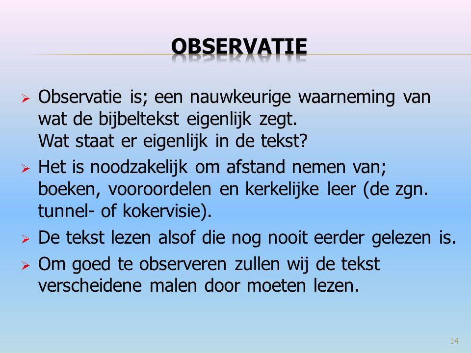  Observatie is; een nauwkeurige waarneming van wat de bijbeltekst eigenlijk zegt.