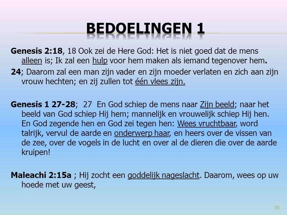 Genesis 2:18, 18 Ook zei de Here God: Het is niet goed dat de mens alleen is; Ik zal een hulp voor hem maken als iemand tegenover hem.