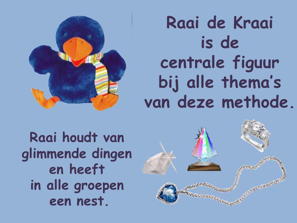 Raai de Kraai is de centrale figuur bij alle thema's van deze methode. Raai houdt van glimmende dingen en heeft in alle groepen een nest.