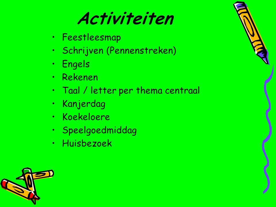 Activiteiten Feestleesmap Schrijven (Pennenstreken) Engels Rekenen Taal / letter per thema centraal Kanjerdag Koekeloere Speelgoedmiddag Huisbezoek