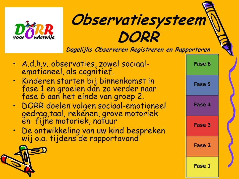 Observatiesysteem DORR Dagelijks Observeren Registreren en Rapporteren A.d.h.v. observaties, zowel sociaal- emotioneel, als cognitief. Kinderen starte