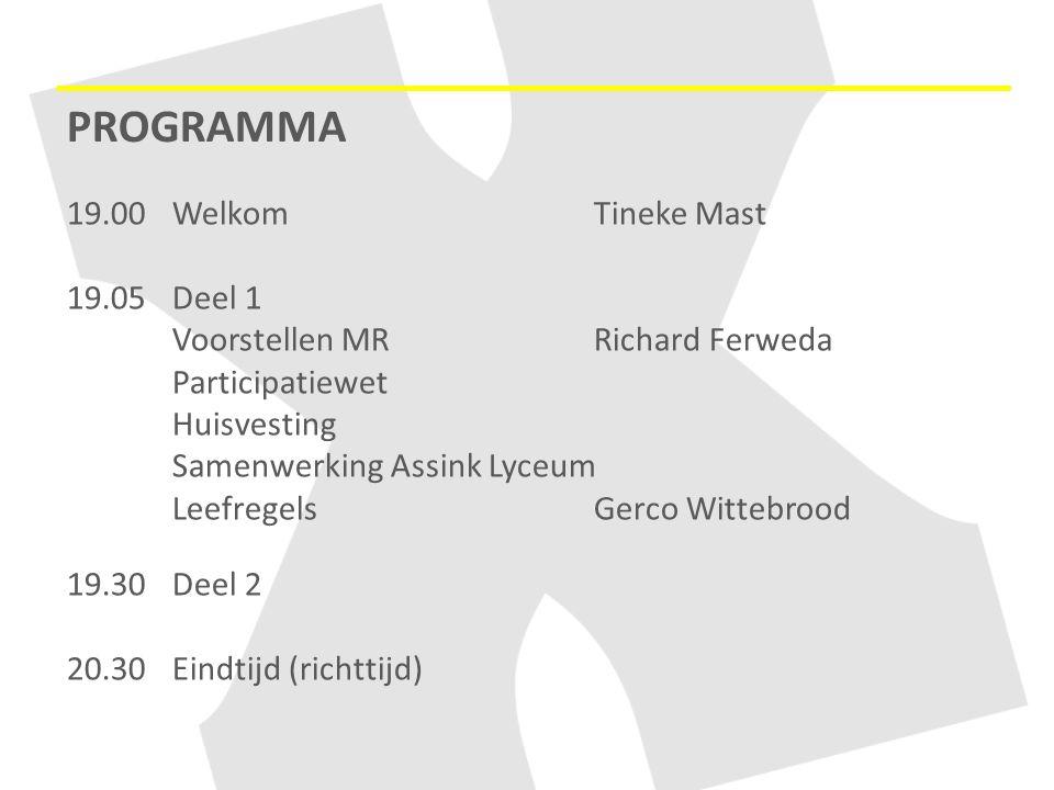 PROGRAMMA 19.00WelkomTineke Mast 19.05 Deel 1 Voorstellen MR Richard Ferweda Participatiewet Huisvesting Samenwerking Assink Lyceum Leefregels Gerco W