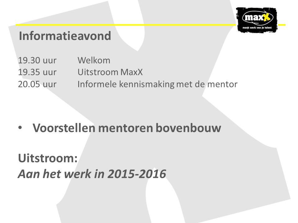 19.30 uur Welkom 19.35 uurUitstroom MaxX 20.05 uur Informele kennismaking met de mentor Uitstroom: Aan het werk in 2015-2016 Voorstellen mentoren bove