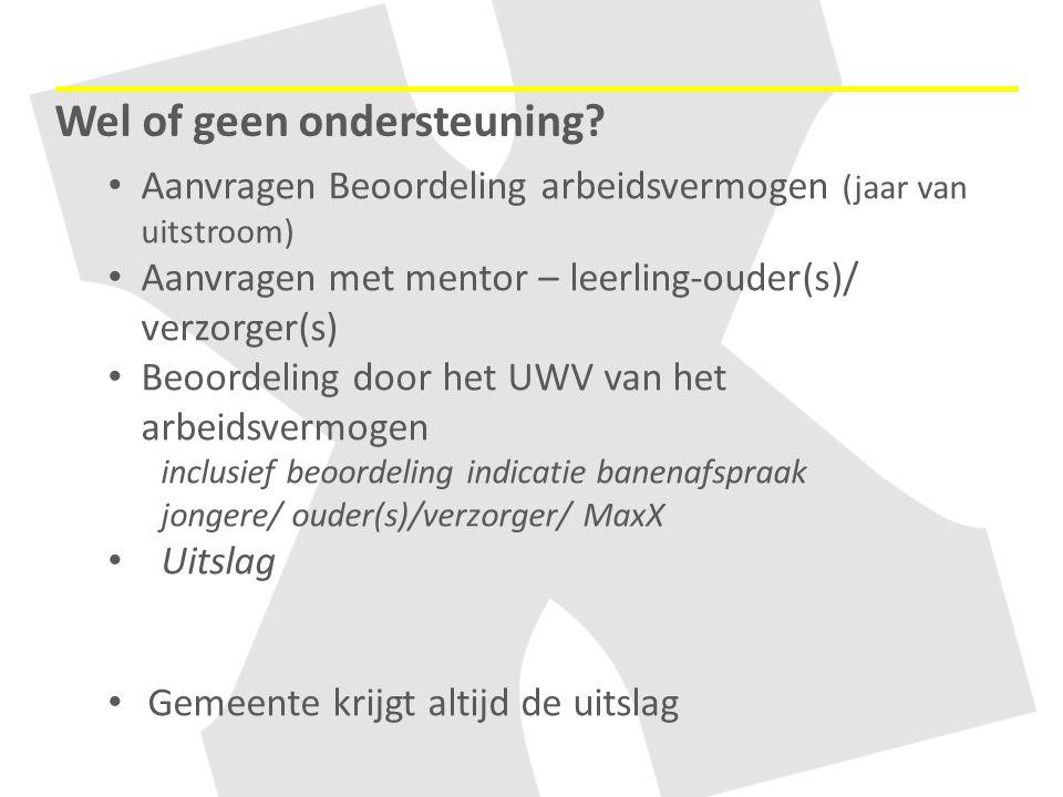 Aanvragen Beoordeling arbeidsvermogen (jaar van uitstroom) Aanvragen met mentor – leerling-ouder(s)/ verzorger(s) Beoordeling door het UWV van het arb
