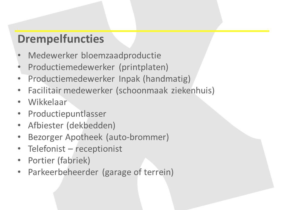 Drempelfuncties Medewerker bloemzaadproductie Productiemedewerker (printplaten) Productiemedewerker Inpak (handmatig) Facilitair medewerker (schoonmaa