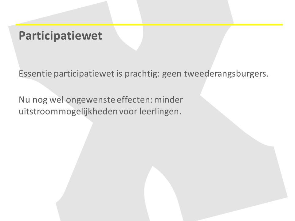 Participatiewet Essentie participatiewet is prachtig: geen tweederangsburgers. Nu nog wel ongewenste effecten: minder uitstroommogelijkheden voor leer