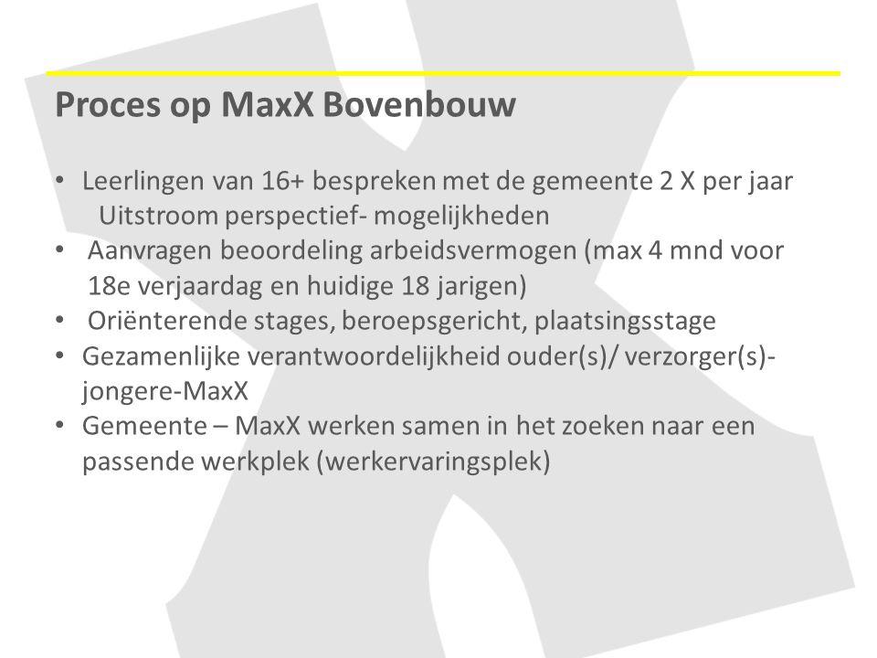 Proces op MaxX Bovenbouw Leerlingen van 16+ bespreken met de gemeente 2 X per jaar Uitstroom perspectief- mogelijkheden Aanvragen beoordeling arbeidsv