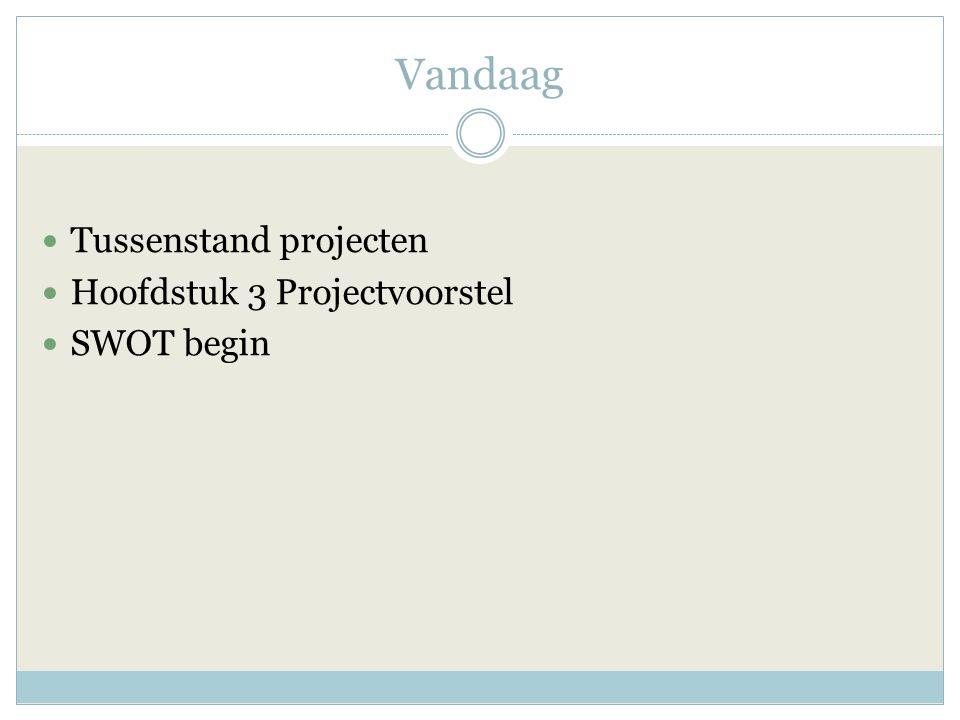 Vandaag Tussenstand projecten Hoofdstuk 3 Projectvoorstel SWOT begin