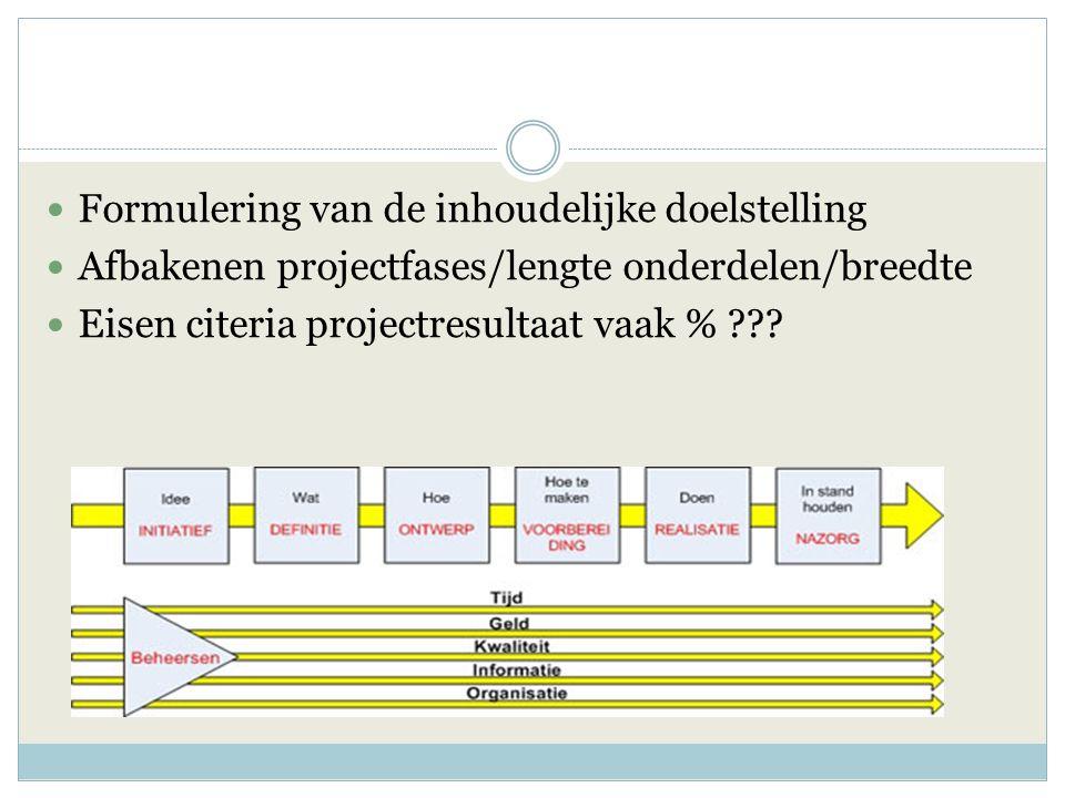 Formulering van de inhoudelijke doelstelling Afbakenen projectfases/lengte onderdelen/breedte Eisen citeria projectresultaat vaak % ???