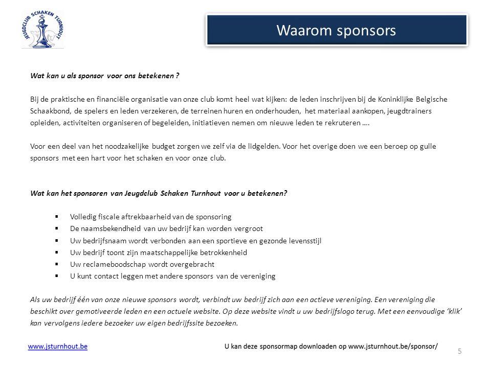 Waarom sponsors Wat kan u als sponsor voor ons betekenen ? Bij de praktische en financiële organisatie van onze club komt heel wat kijken: de leden in