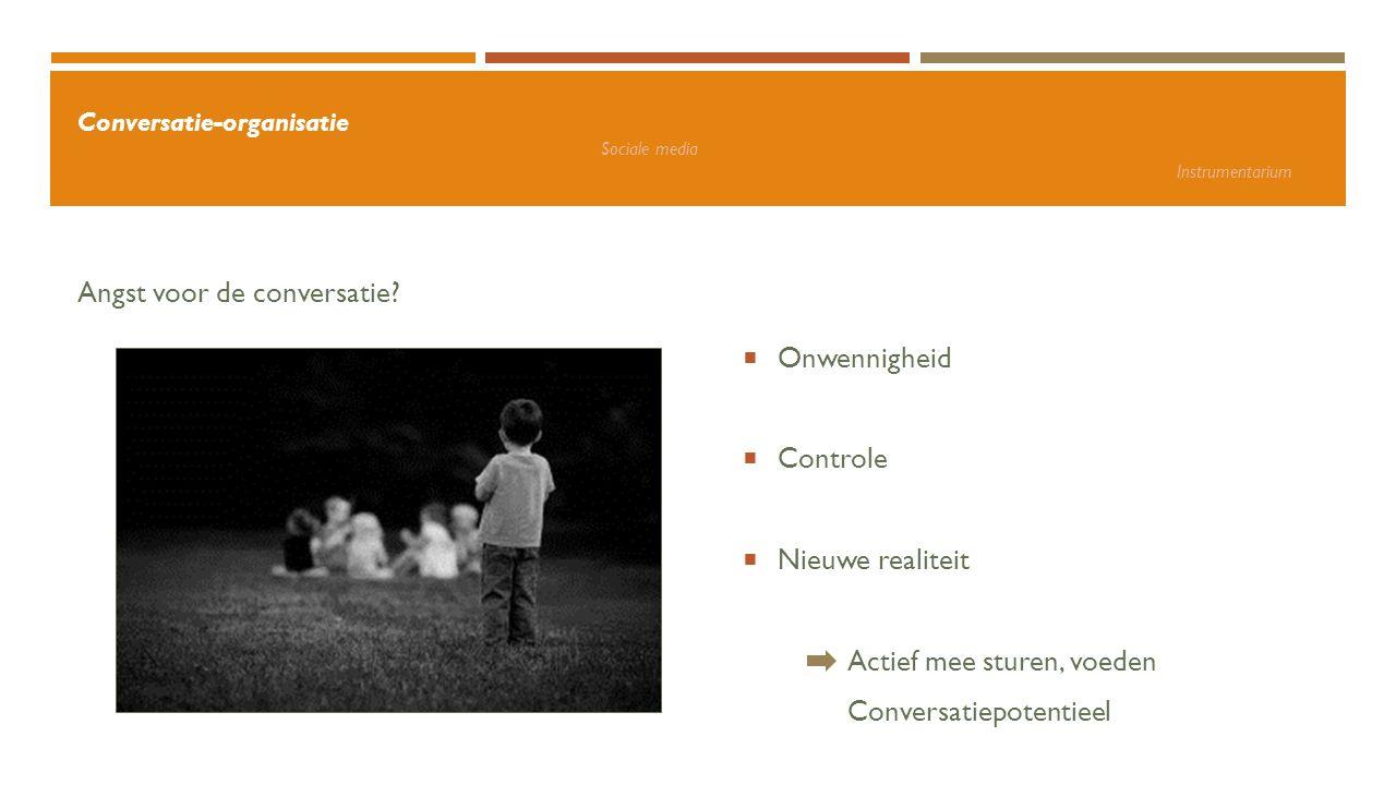 Angst voor de conversatie?  Onwennigheid  Controle  Nieuwe realiteit Actief mee sturen, voeden Conversatiepotentieel Conversatie-organisatie Social