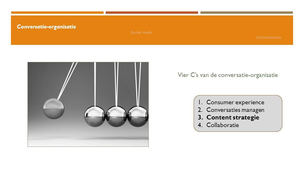 Vier C's van de conversatie-organisatie 1.Consumer experience 2.Conversaties managen 3.Content strategie 4.Collaboratie Conversatie-organisatie Social