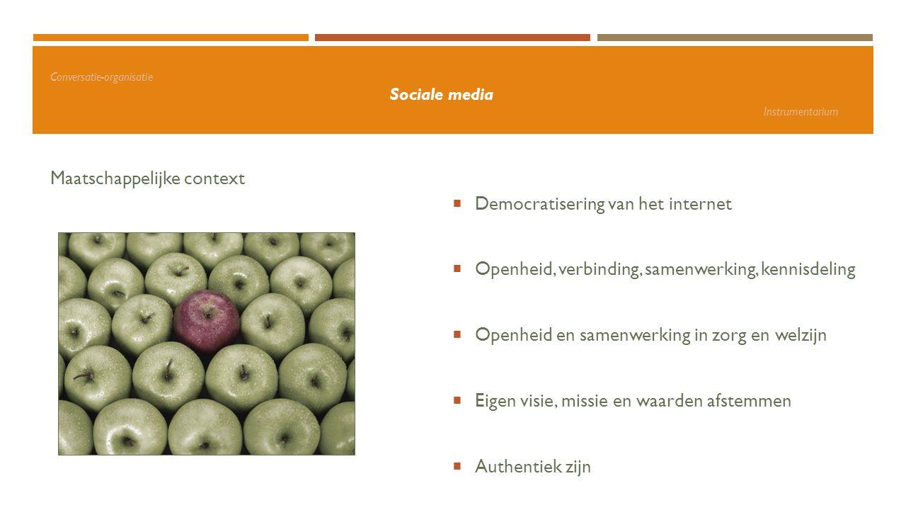 Conversatie-organisatie Sociale media Instrumentarium Maatschappelijke context  Democratisering van het internet  Openheid, verbinding, samenwerking