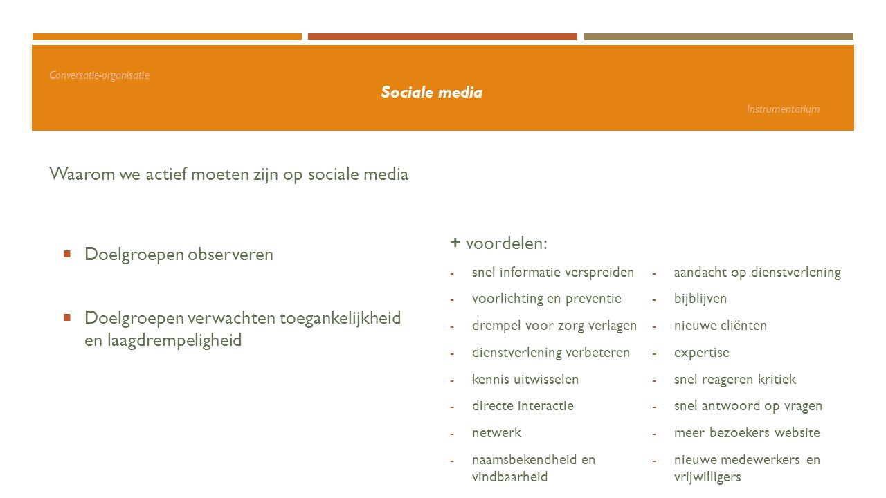 Conversatie-organisatie Sociale media Instrumentarium Waarom we actief moeten zijn op sociale media  Doelgroepen observeren  Doelgroepen verwachten
