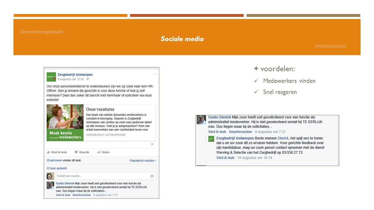 Conversatie-organisatie Sociale media Instrumentarium + voordelen: Medewerkers vinden Snel reageren