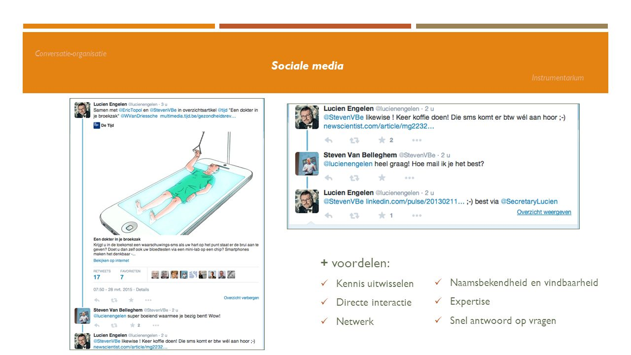 Conversatie-organisatie Sociale media Instrumentarium + voordelen: Kennis uitwisselen Directe interactie Netwerk Naamsbekendheid en vindbaarheid Exper