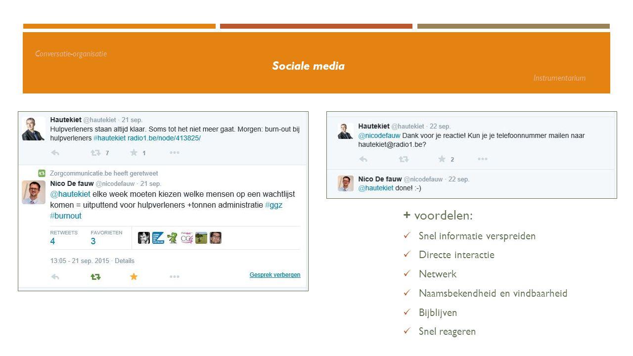 Conversatie-organisatie Sociale media Instrumentarium + voordelen: Snel informatie verspreiden Directe interactie Netwerk Naamsbekendheid en vindbaarh