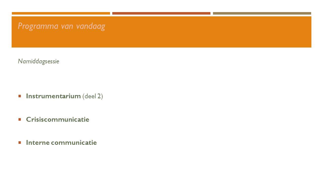 Conversatie-organisatie Sociale media Instrumentarium Implementeren en borgen  Steun van het management  Verzamel enthousiaste mensen  Stel een pilotgroep samen  Organiseer kennissessies en trainingen  Communiceer resultaten  Stel een centrale coördinator aan  Borging in organisatie Privé