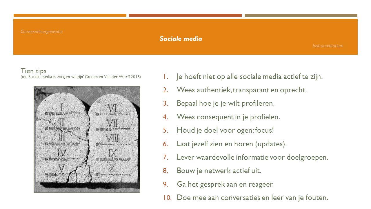 Conversatie-organisatie Sociale media Instrumentarium Tien tips (uit 'Sociale media in zorg en welzijn' Gulden en Van der Wurff 2015) 1. Je hoeft niet