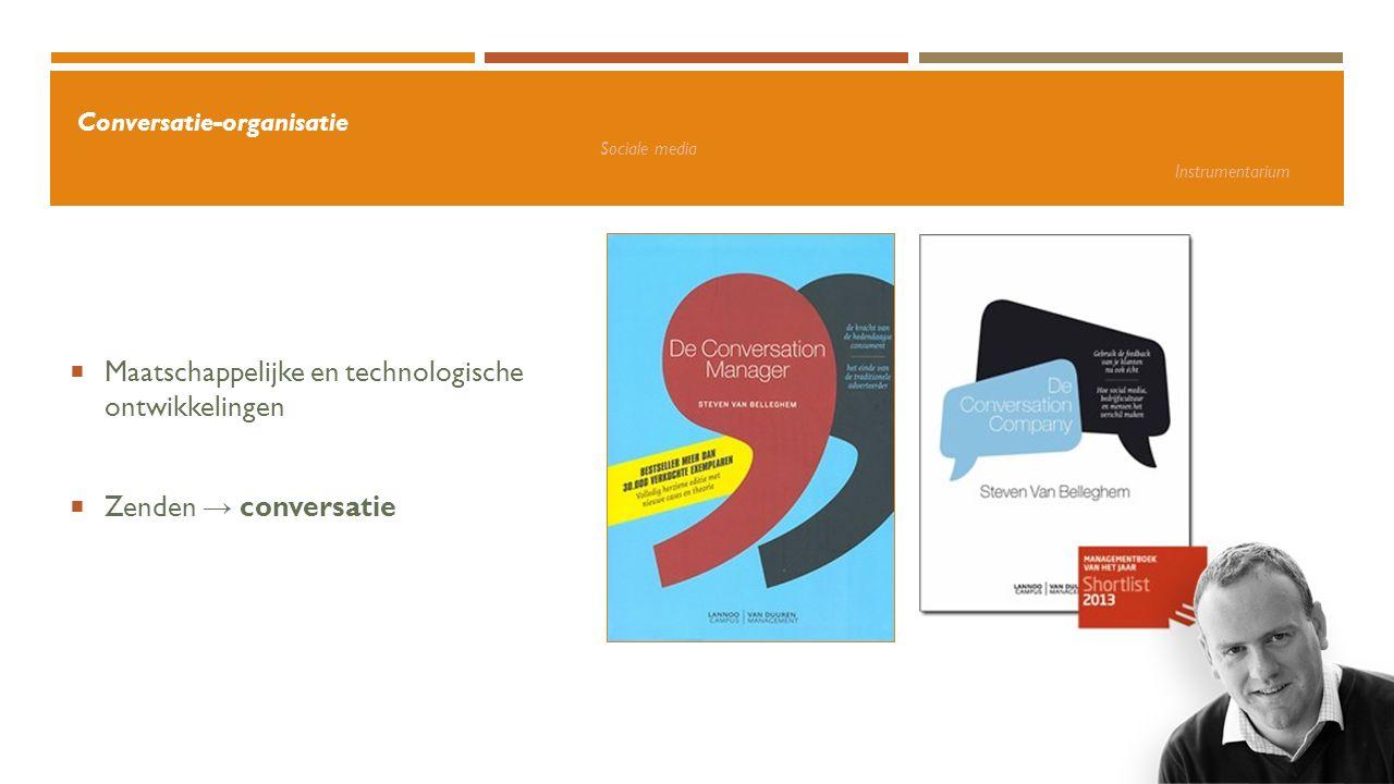 Conversatie-organisatie Sociale media Instrumentarium + voordelen: Kennis uitwisselen Directe interactie Netwerk Naamsbekendheid en vindbaarheid Expertise Snel antwoord op vragen