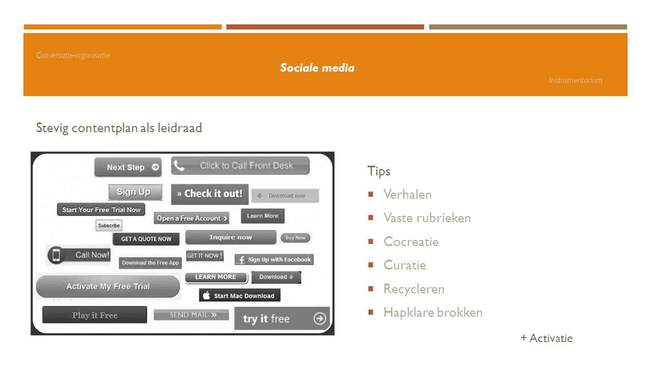 Conversatie-organisatie Sociale media Instrumentarium Stevig contentplan als leidraad Tips  Verhalen  Vaste rubrieken  Cocreatie  Curatie  Recycl