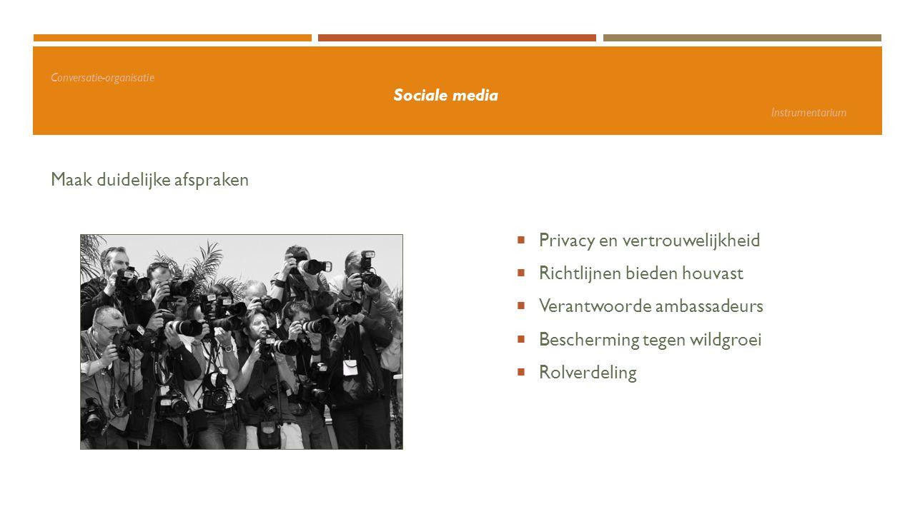 Conversatie-organisatie Sociale media Instrumentarium Maak duidelijke afspraken  Privacy en vertrouwelijkheid  Richtlijnen bieden houvast  Verantwo