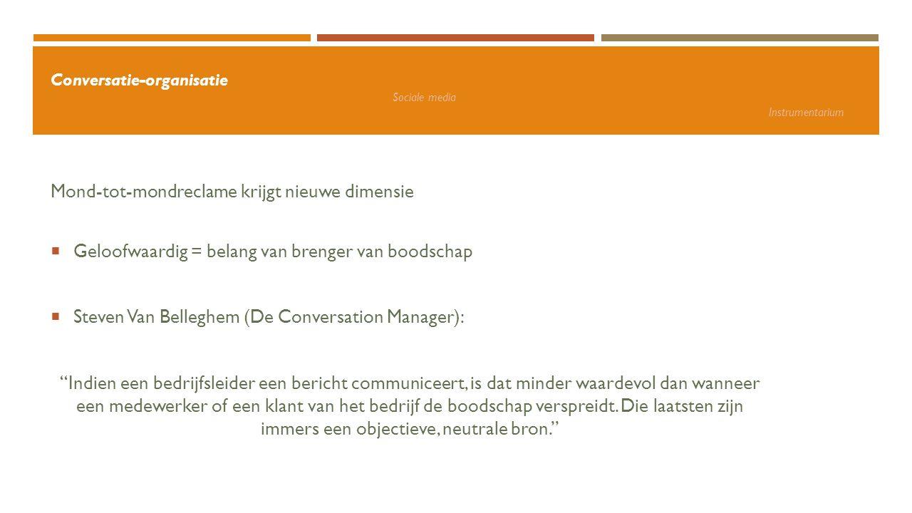 Conversatie-organisatie Sociale media Instrumentarium + voordelen: Snel informatie verspreiden Directe interactie Netwerk Naamsbekendheid en vindbaarheid Bijblijven Snel reageren