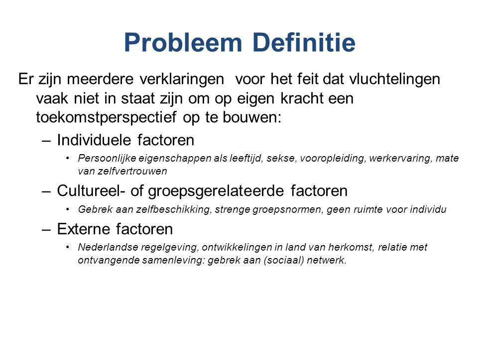 Probleem Definitie Er zijn meerdere verklaringen voor het feit dat vluchtelingen vaak niet in staat zijn om op eigen kracht een toekomstperspectief op te bouwen: –Individuele factoren Persoonlijke eigenschappen als leeftijd, sekse, vooropleiding, werkervaring, mate van zelfvertrouwen –Cultureel- of groepsgerelateerde factoren Gebrek aan zelfbeschikking, strenge groepsnormen, geen ruimte voor individu –Externe factoren Nederlandse regelgeving, ontwikkelingen in land van herkomst, relatie met ontvangende samenleving: gebrek aan (sociaal) netwerk.