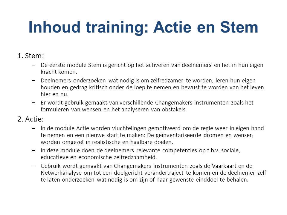 Inhoud training: Actie en Stem 1.