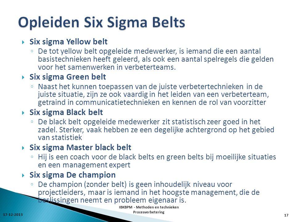  Six sigma Yellow belt ◦ De tot yellow belt opgeleide medewerker, is iemand die een aantal basistechnieken heeft geleerd, als ook een aantal spelregels die gelden voor het samenwerken in verbeterteams.