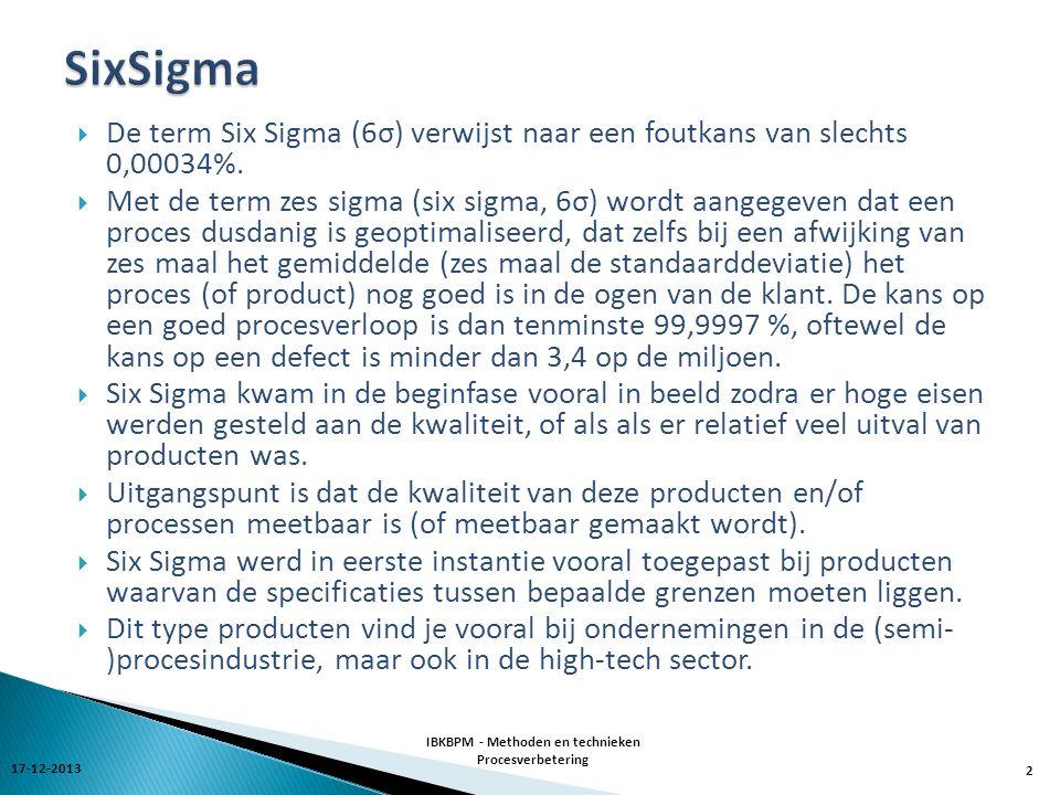  De term Six Sigma (6σ) verwijst naar een foutkans van slechts 0,00034%.