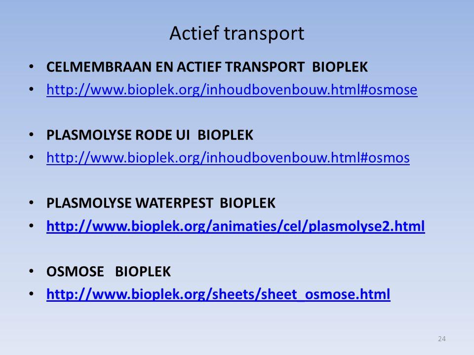 Actief transport CELMEMBRAAN EN ACTIEF TRANSPORT BIOPLEK http://www.bioplek.org/inhoudbovenbouw.html#osmose PLASMOLYSE RODE UI BIOPLEK http://www.biop