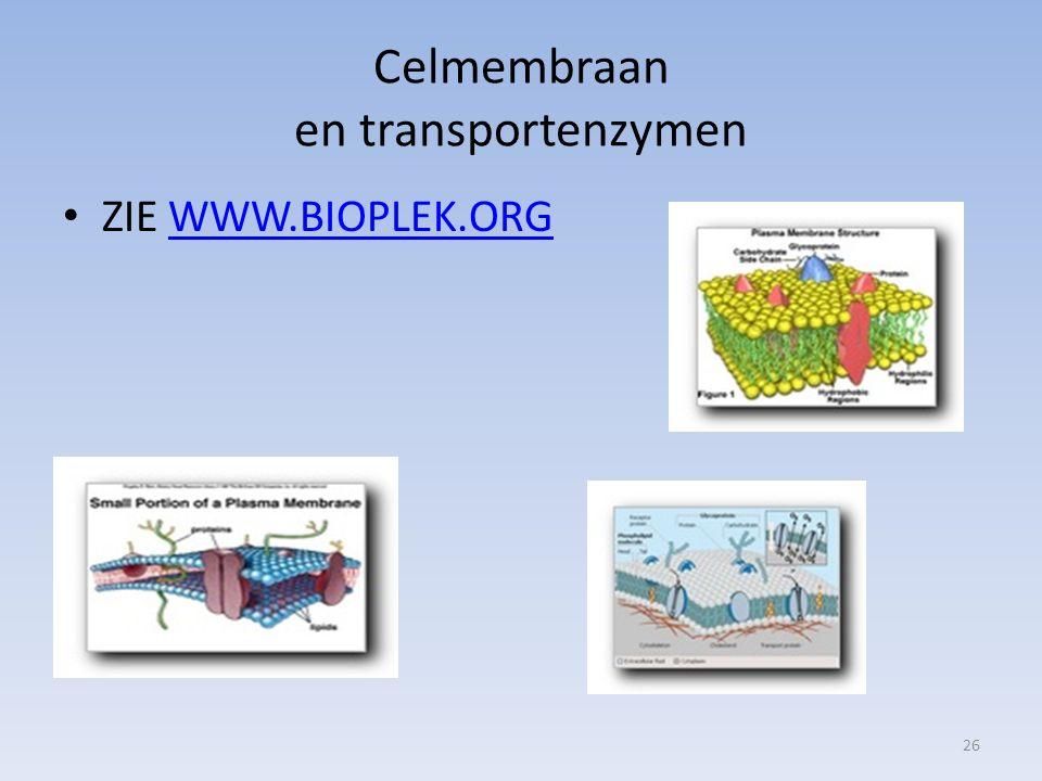 Celmembraan en transportenzymen ZIE WWW.BIOPLEK.ORGWWW.BIOPLEK.ORG 26