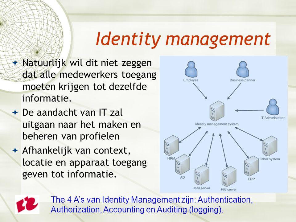Identity management  Natuurlijk wil dit niet zeggen dat alle medewerkers toegang moeten krijgen tot dezelfde informatie.  De aandacht van IT zal uit