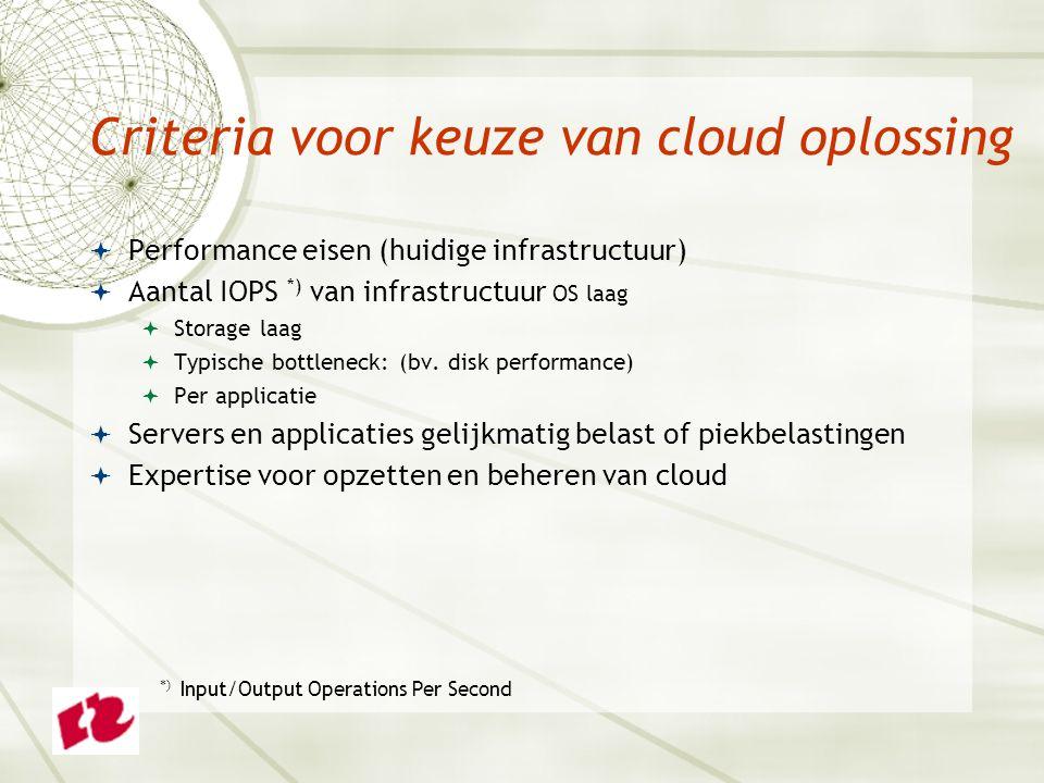 Criteria voor keuze van cloud oplossing  Performance eisen (huidige infrastructuur)  Aantal IOPS *) van infrastructuur OS laag  Storage laag  Typische bottleneck: (bv.