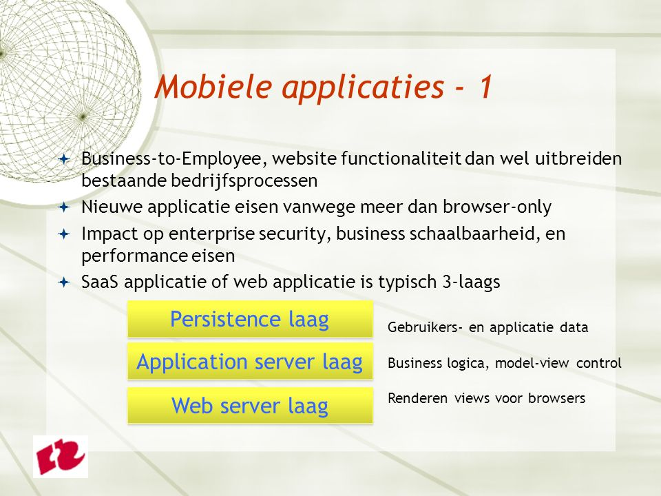 Mobiele applicaties - 1  Business-to-Employee, website functionaliteit dan wel uitbreiden bestaande bedrijfsprocessen  Nieuwe applicatie eisen vanwe