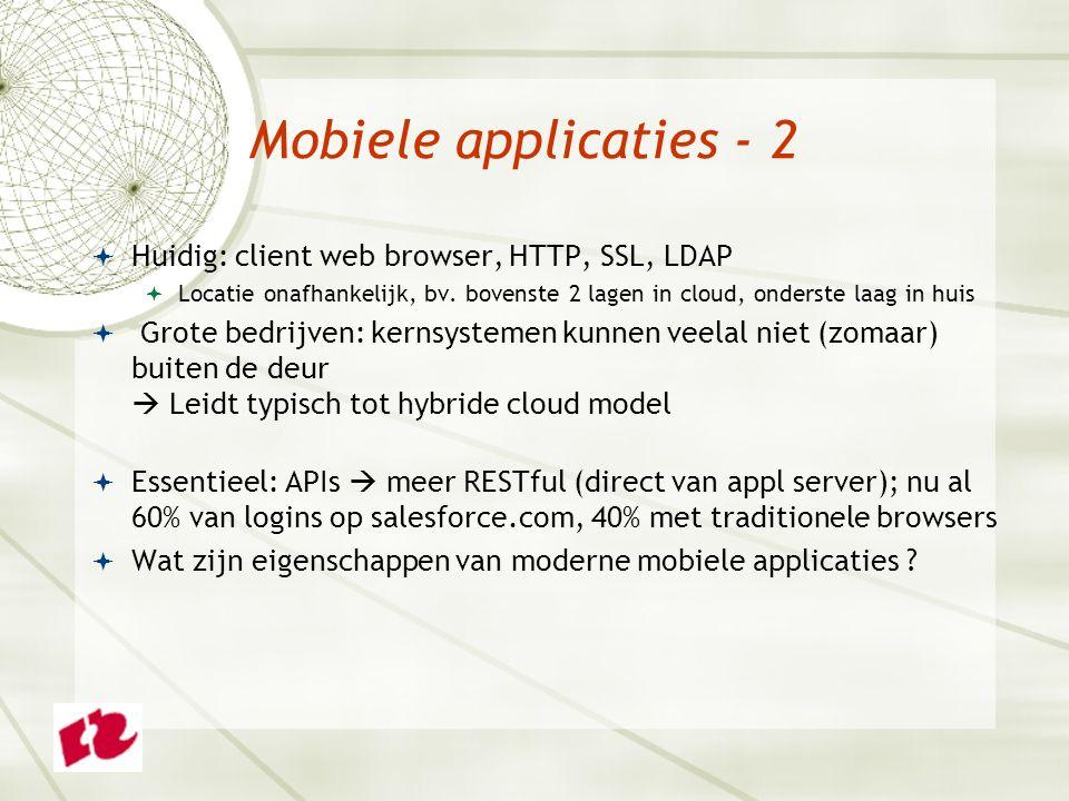 Mobiele applicaties - 2  Huidig: client web browser, HTTP, SSL, LDAP  Locatie onafhankelijk, bv.