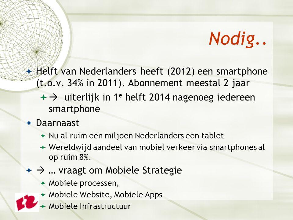 Nodig..  Helft van Nederlanders heeft (2012) een smartphone (t.o.v. 34% in 2011). Abonnement meestal 2 jaar   uiterlijk in 1 e helft 2014 nagenoeg