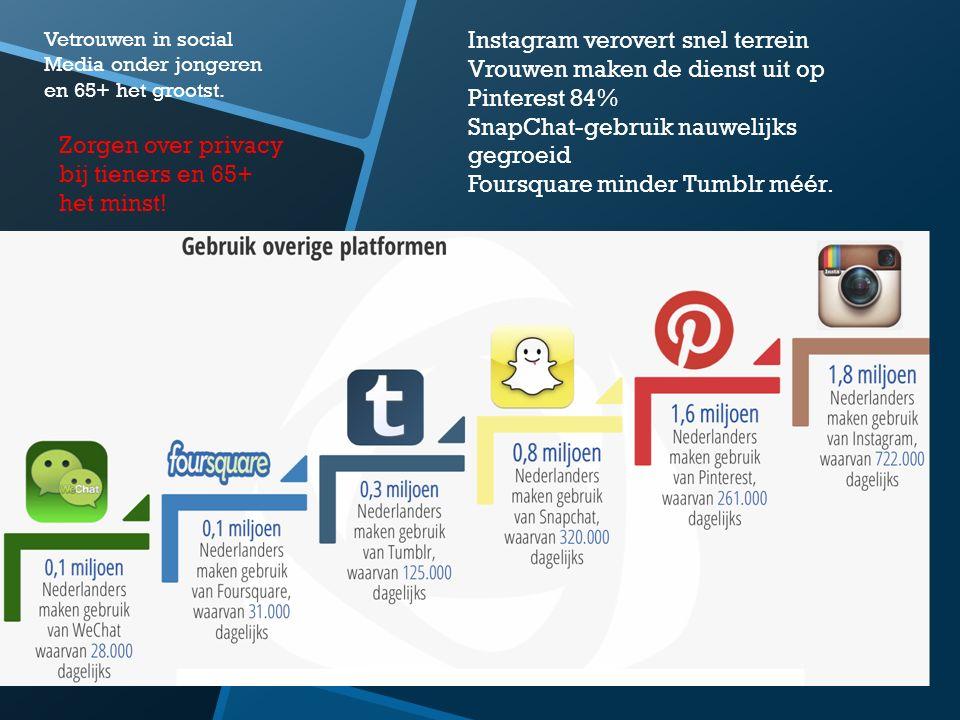 Instagram verovert snel terrein Vrouwen maken de dienst uit op Pinterest 84% SnapChat-gebruik nauwelijks gegroeid Foursquare minder Tumblr méér. Vetro