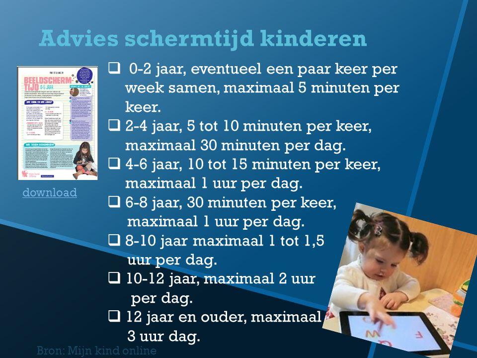 Advies schermtijd kinderen Bron: Mijn kind online  0-2 jaar, eventueel een paar keer per week samen, maximaal 5 minuten per keer.  2-4 jaar, 5 tot 1