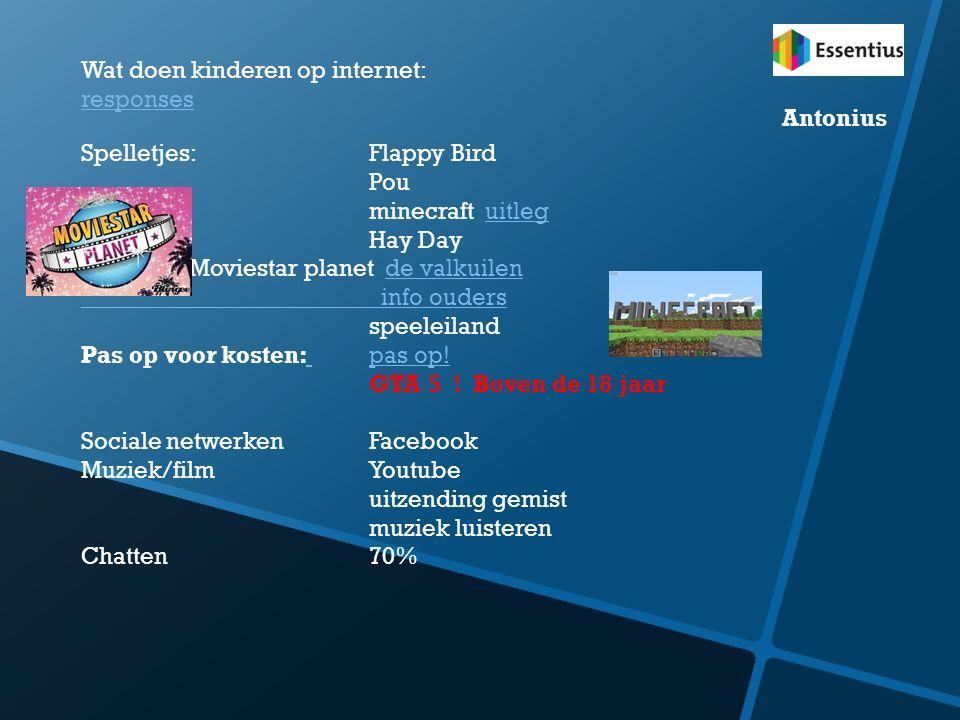 Wat doen kinderen op internet: responses Spelletjes: Flappy Bird Pou minecraft uitleguitleg Hay Day Moviestar planet de valkuilende valkuilen info oud
