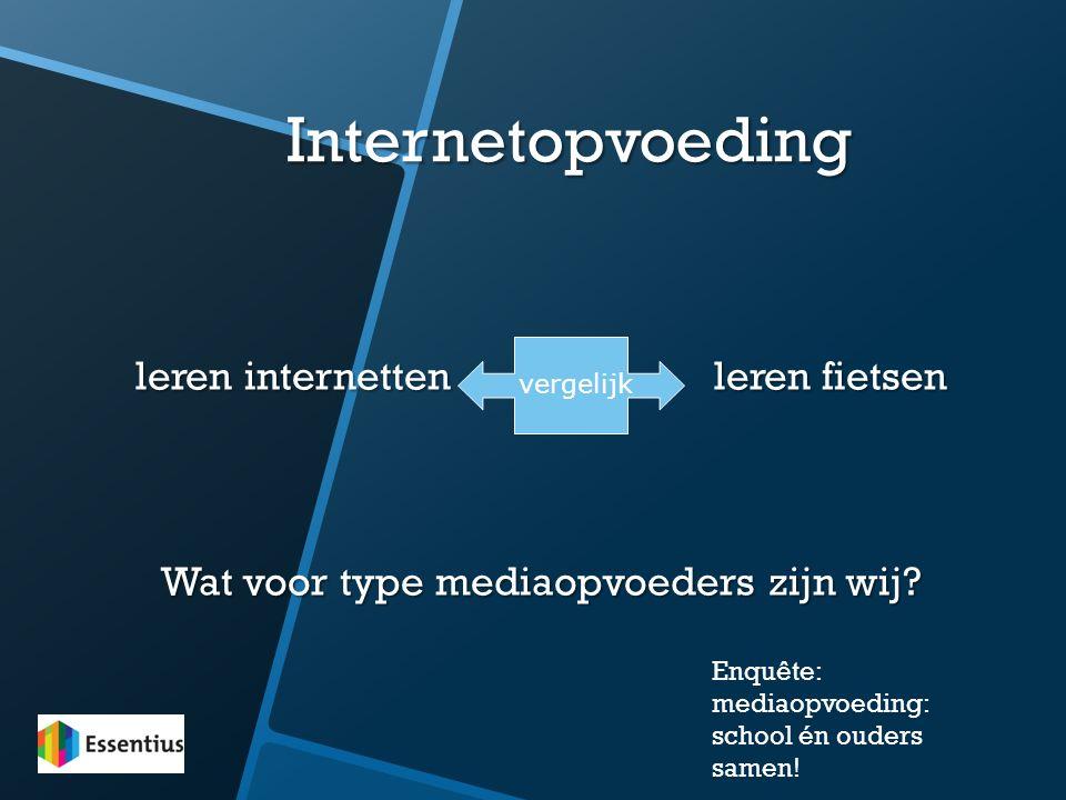 Internetopvoeding leren internetten leren fietsen Wat voor type mediaopvoeders zijn wij? vergelijk Enquête: mediaopvoeding: school én ouders samen!