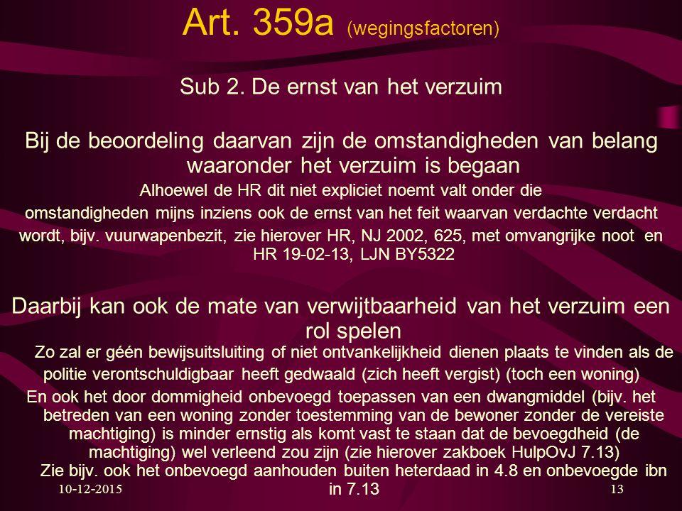 Art. 359a (wegingsfactoren) Sub 2. De ernst van het verzuim Bij de beoordeling daarvan zijn de omstandigheden van belang waaronder het verzuim is bega