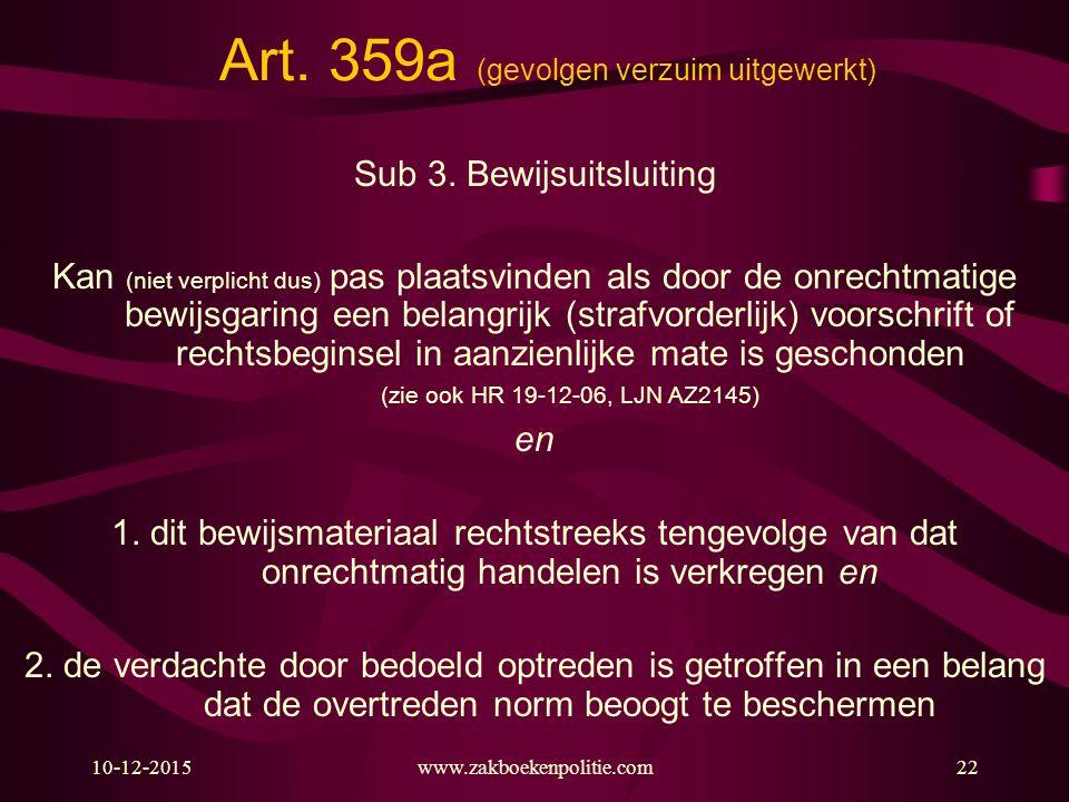 10-12-2015www.zakboekenpolitie.com22 Art. 359a (gevolgen verzuim uitgewerkt) Sub 3. Bewijsuitsluiting Kan (niet verplicht dus) pas plaatsvinden als do