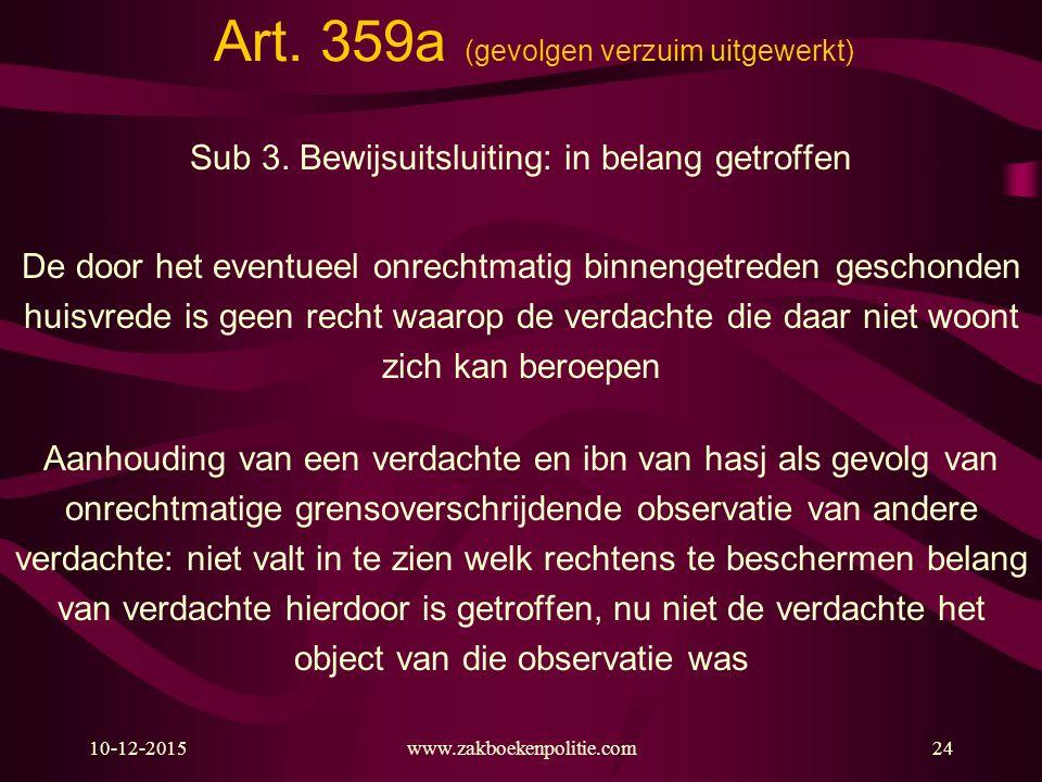 10-12-2015www.zakboekenpolitie.com24 Art. 359a (gevolgen verzuim uitgewerkt) Sub 3. Bewijsuitsluiting: in belang getroffen De door het eventueel onrec