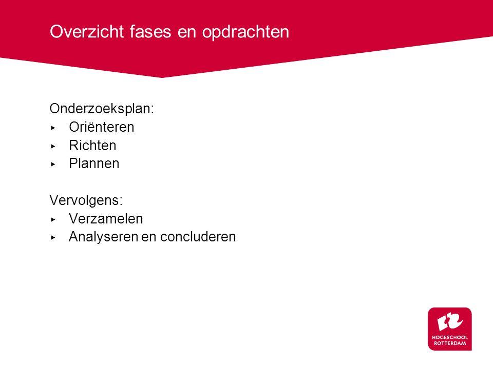 Overzicht fases en opdrachten Onderzoeksplan: ▸ Oriënteren ▸ Richten ▸ Plannen Vervolgens: ▸ Verzamelen ▸ Analyseren en concluderen